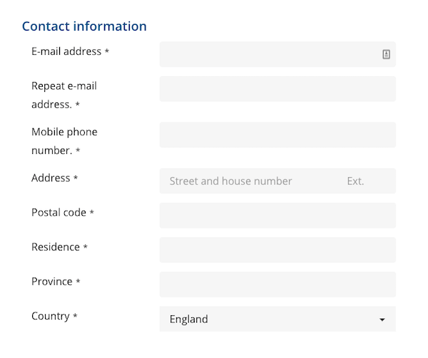 Contact information in the eTA Canada form