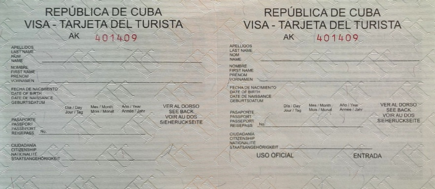 Example of the Cuba visa