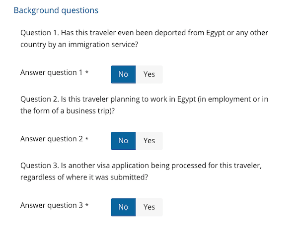 Background questions for the Egypt visa