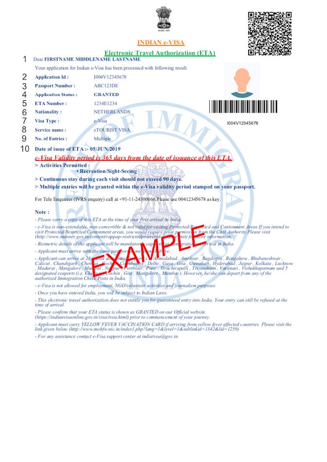 PDF example Indian visa