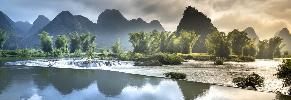 The beautiful nature of Vietnam; a famous view are the typical mountain shapes